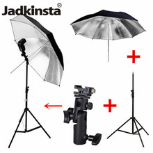 Jadkinsta 4in1 Photography Lighting Kit Light Stand Tripod + E Type Flash Shoe Bracket + 33 inch Soft and Reflecting Umbrella(China)