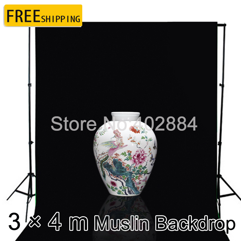 Free tax to Russia new photographic equipment 3m x 4m Cotton Black Screen Muslin Background Backdrop fast shipping<br>
