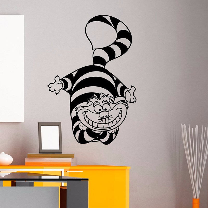 2017New Alice In Wonderland Cheshire Cat Wall Art Sticker Decal Home DIY  Decoration Wall Mural Removable Part 33
