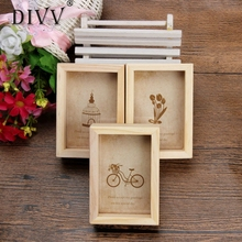 DIVV Top Grand 9.3*6.5*3.2cm Family Vintage Photo Frame Home Decor Wooden Wedding Pictures Frames Vinatage Family Frame