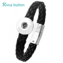 Buy Rivca Snap Button Bracelet&Bangles Jewelry Ancient Silver Plating Magnet Leather Bracelet women 18mm Snap Button P01071 for $1.43 in AliExpress store