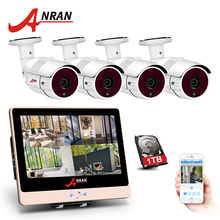 "ANRAN 4CH POE NVR Kit CCTV 1080P 12"" LCD Monitor HD Video Surveillance IP Camera Outdoor Security Camera System With 1TB HDD(China)"