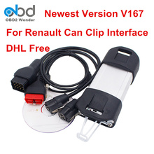 DHL Free Can Clip V167 For Renault OBD2 Diagnostic Scanner Support Multi Languages Can Clip OBDII Interface A++ PCB Board