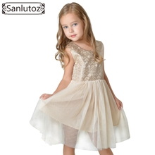 Sanlutoz Princess Girl Dress 2017 Toddler Children Clothing Luxury Kids Clothes Wedding Party Holiday Christmas(China)
