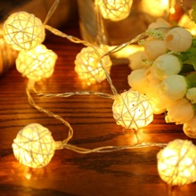 20pcs LED Light 2M Warm White Rattan Ball String Fairy Lights String For Christmas Xmas Wedding Decoration Party Hot Dry Battery(China)