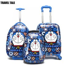 "TRAVEL TALE 13""16""18 inch doraemon kids luggage set child suitcase on wheels free shipping"