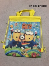 12 pcs /lot minion  backpack shoulder bag  for kids  stuff supplies school bag shoe bag  for girls,boys birthday party gift