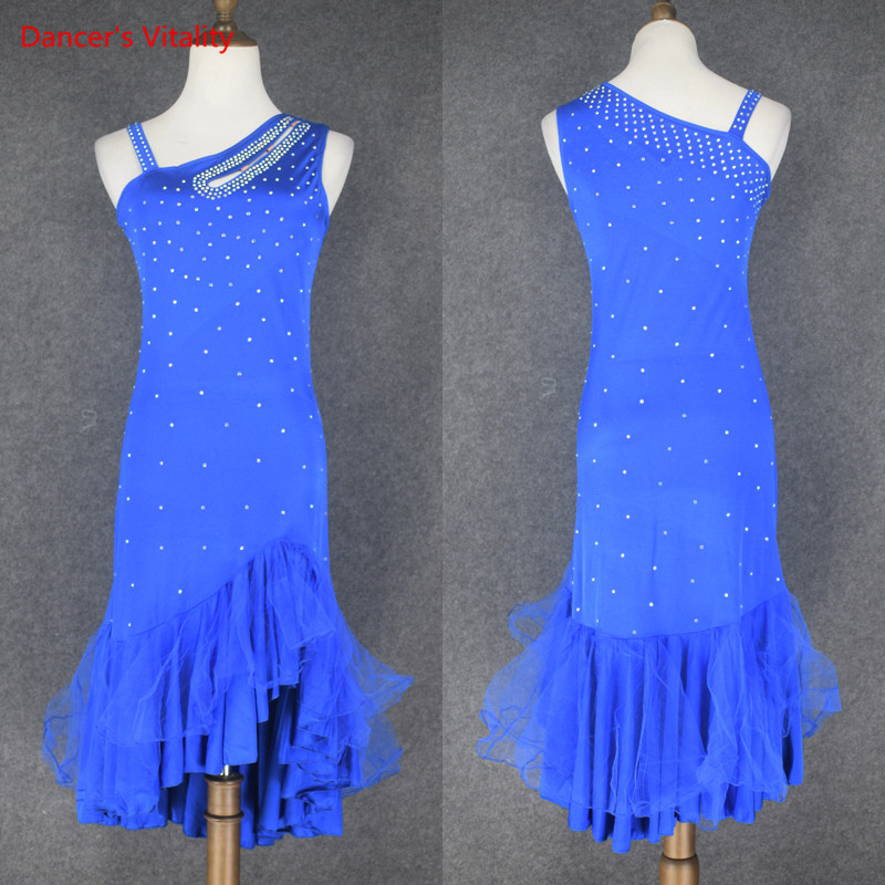 Diamond Latin Dance Dress Salsa Tango Ballroom Competition Group Dance Dress For Women Pleated Practice Costume Free Custom