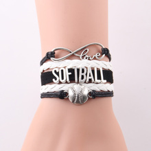 Infinity Love SOFTBALL bracelet Baseball charms Sport Team leather wrap men bracelet & bangles for women jewelry drop shopping