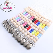Buy XCQGH Baby Pacifier Clip Metal Dummy Clip Wood Beads Pacifier Chain Nipple Soother Holder Baby Feeding Clips for $1.99 in AliExpress store