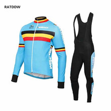 PRO Team Belgium Winter Thermal Cycling Jersey Cycling Clothing Strap Ropa Ciclismo Hombre Bicycle Sports Wear(China)