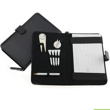 Golf Score Card Holder PU Cover with Pencil /Divot Tool/ Golf Tees/ Hat Clip Golf outdoor products free shipping(China)