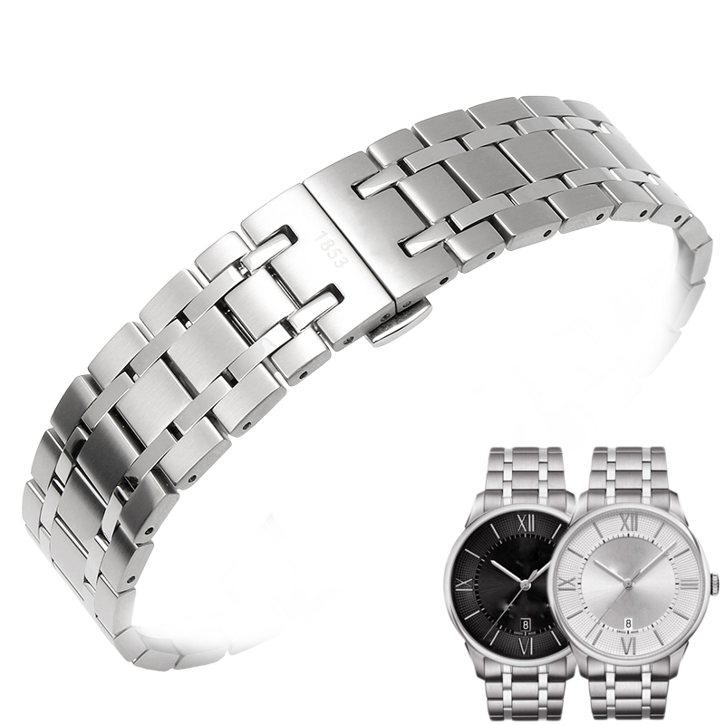 21MM stainless steel strap for T-CLASSIC CHEMIN DES TOURELLES T099 mens mechanical watch accessories bracelet butterfly buckle<br>