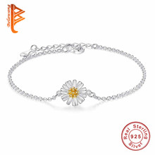 Buy Fashion 925 Sterling Silver Link Chain Daisy Charm Bracelet Women Enamel Flower Bracelets Bangles Party Gift pulseras for $5.63 in AliExpress store