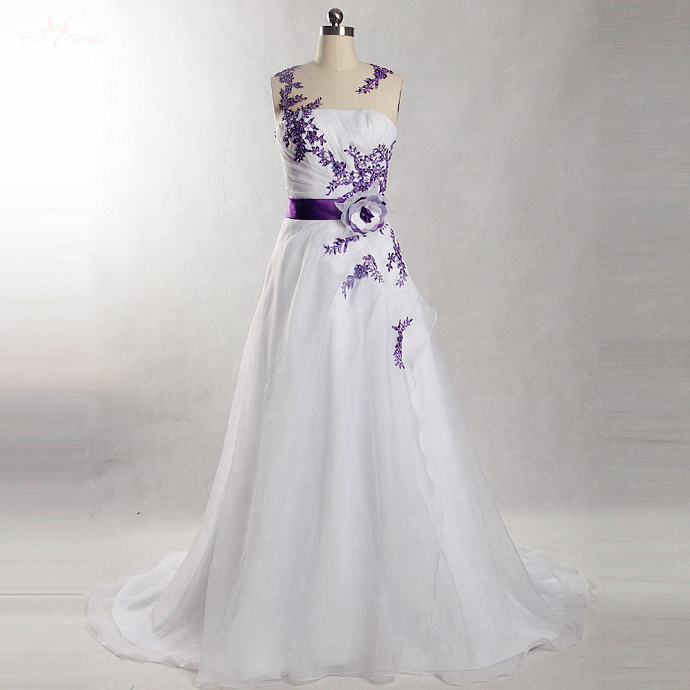 Buy Wedding Dress With Purple Ribbon And Get Free Shipping On