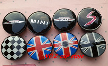 4pcs Free shipping 54mm colorful England Flag MINI WORKS S Car emblem Wheel Center Hub Cap wheel Badge covers Auto accessories(China)