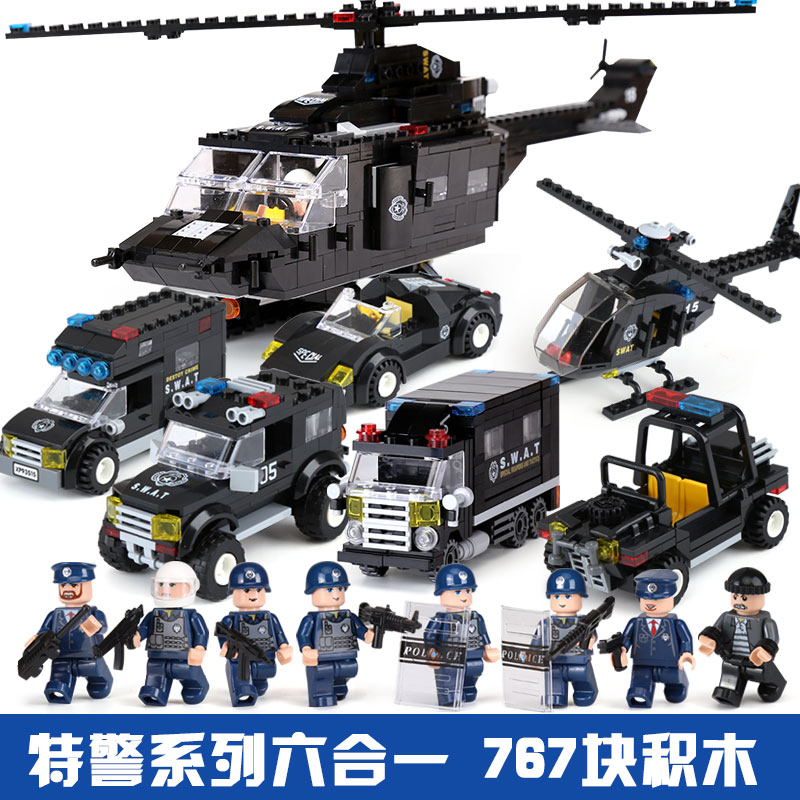 XIPOO 6 in 1 Police Series 767Pcs The Police Command Set Building Blocks Bricks LegoINGly Police Station Kids Toys With Figuras <br>