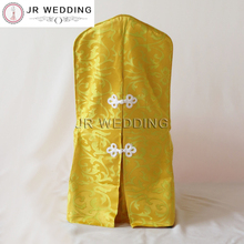 100pcs Free Shipping Jacquard Gold Chair Cover Back With Button For Wedding Hotel Chair