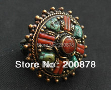 R147 Nepal Tibetan White Metal Copper Antiqued inlaid Red Coral Sunflower big Ring,superwide finger Rings 2013 new