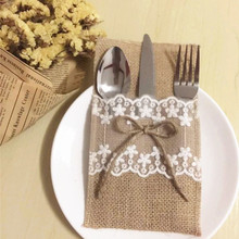 free shipping  wholesaler of Lace linen tableware bag holiday wedding knife fork bag red wine bag