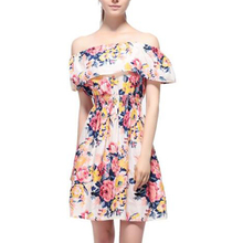 5 Colors Fashion Women Off Shoulder Dress Floral PrintGirls Womens Dresess Boat Neck Strapless Cute Dress Female Vestidos