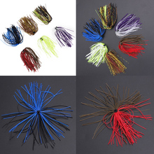6 Bundles Fishing Lure Silicone Long Skirts DIY Salty Rubber Jig Lures Squid Fishing Bait Soft Baits Winter Sea Fishing Lure(China)