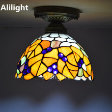 Tiffany Ceiling Light Stained Glass Lampshade Hanging Lamp Country Style Living Room Indoor Lighting E27 Lamp Home Decor Fixture