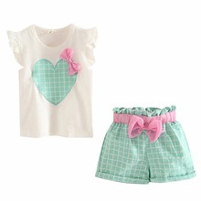 Cute Sleeveless Heart Bow Tops+Short Pants Cotton Green/Pink Set For Kids Girls