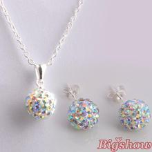 Shamballa stud Earrings Necklace Set Wholesale Fashion Jewelry crystal rhinestone AB white