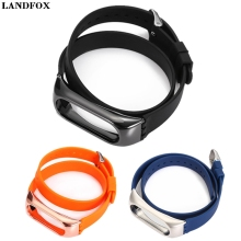 Buy LANDFOX 43cm Silicon Solid Color Wristband Xiaomi Mi Band 2 Replacement Strap Smart Watches Strap WristBand Bracelet New Fas for $4.09 in AliExpress store