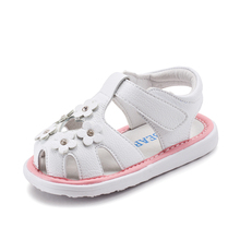Summer Baby Girl White Princess Shoes Slip-resistant Toddler Fancy flower Sandal Infant Factory PU Baby Flat Sandal Shoes GU2566
