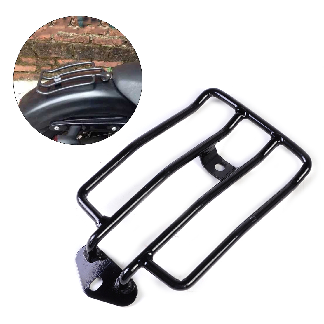 DWCX Black Seat Luggage Shelf Carrier Support Rack for Harley Sportster 1200 883 with stock solo seat<br>