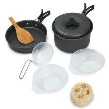 8 pcs CS Outdoor Portable tableware set Non-stick Pots Pans Bowls Cooking Picnic Set for hiking camping travel survival barbecue