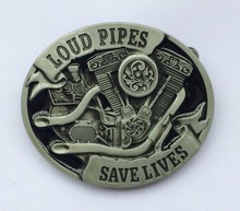 Loud Pipes Save Lives Motorcycle Belt Buckle SW-BY399 suitable for 4cm wideth belt with continous stock(China)