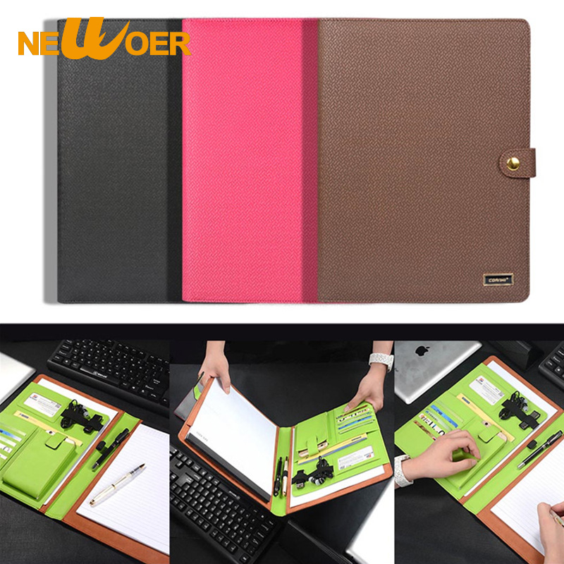 Leather Notebook File Folder Multifunction Organizer Planner With Phone Bag Pouch Card Slot Smart Notebook Office Supply Newoer(China (Mainland))