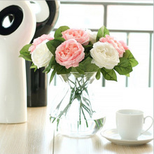 Hot 10pcs/lot 30cm Hotel Table Decoration White/Pink Multi Color Real Touch Rose Plastic Artificial Flower For Wedding Party(China)