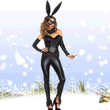 Halloween costume party new RPG fat people tuxedo bunny, black bunny tail dress balls containing a white dress plainclothes(China)