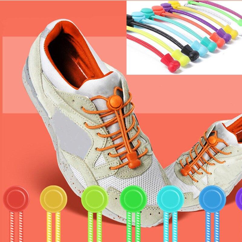 1pc Shoelaces Bootlaces No Tie Locking Round Elastic Shoelace Sneaker Shoe Laces
