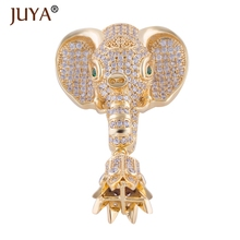 Supplies For Jewelry Unique Design Copper Paved Real CZ Beads Elephant Necklace Tassel Making Charm Pendant Jewelry Findings(China)