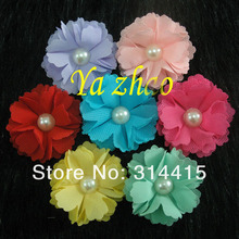 "2"" New Pearl Center Chiffon Tulle Mesh hair flower DIY Flower for handband 360pcs/lot  mix 13 color, free shipping"