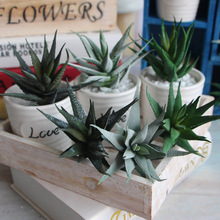 Keythemelife 3pcs/lot Artificial plants succulents Striped aloe flower simulation Adornment photography props Garden Decor A(China)