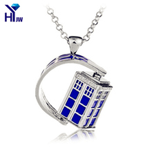 HEYu Dr.Mysterious Doctor Who Tardis Police Box Blue House Rotating Halloween Pendant Necklace Women Men Christmas Party Gift(China)