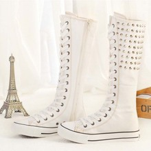 big size 35-43 fashion punk rivets knee high canvas shoes women gladiator lace up side zipper long boots cheerleading dance shoe