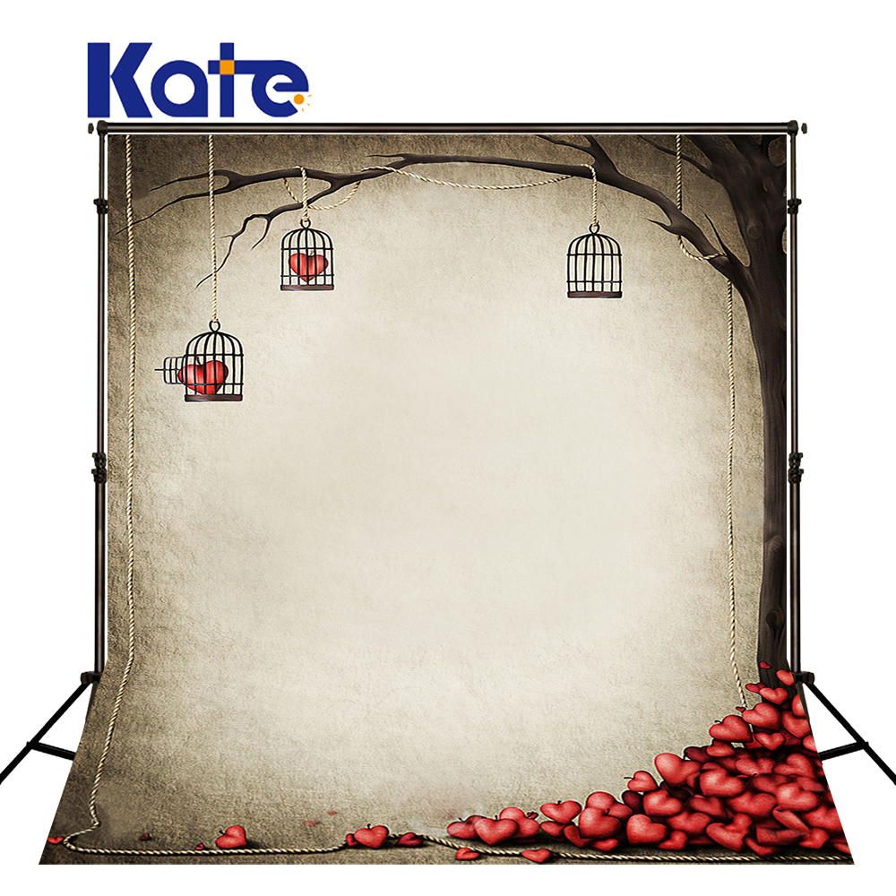 KATE ValentineS Day Background Photography Backdrop Tree and Love Solid Brick Wall Backdrop Cartoon Children Photo for Studio<br>