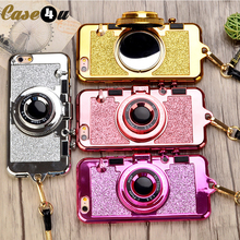 Buy Luxury korean Brand Bling Camera Glitter Phone Cases iPhone X 10 8 7 6s Plus Soft Silicone Case Stand Holder Mirror Lanyard for $3.48 in AliExpress store