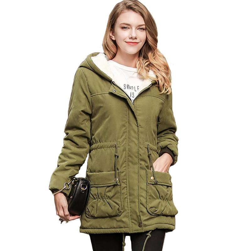 2017 women winter hooded long jacket female fleece warm coat outerwear big pocket loose parka ladies army green jaqueta femininaÎäåæäà è àêñåññóàðû<br><br>