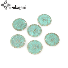 10pcs/lot 25MM Handmade Retro Verdigris Patina Plated Zinc Alloy Green Round Coin Charms pendants For DIY Jewelry Accessories