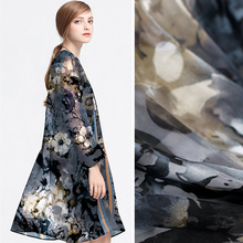 140CM Wide Gray Floral Burnt-out Silk Polyester Fabric for Spring and Summer Dress Shirt Clothes DE466(China)