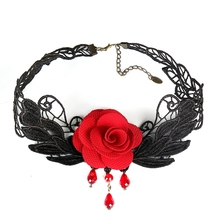 Gothic Retro Black Lace Crochet Rose Choker Necklaces Fashion 2017 Club Party Brand Statement Jewelry Outfits Women Accessories