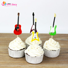New 24pcs Guitar Design Cupcake Toppers Paper Cake Picks Party Supplies Music Theme Party Decorations Cupcake Accessories